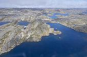 Aerial Photo of Plane, Ungava Bay, Pointe Quebec-Labrador, Nunavik, Northern Quebec Region, Canada