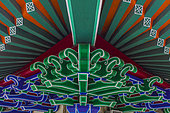 Decorations of a roof, Buddhist Temple, Hong Kong, China