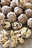 Harvest walnut from a walnut tree, summer, Moselle, France