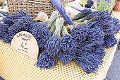 Bouquets of Sault lavender on a market, summer, Provence, France