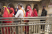 Pilgrims come to venerate rats who are reincarnated poets, bards and storytellers, Temple of Karni Mata (over 600 years), Deshnok, Rajasthan, India