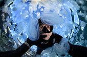Pasquale Vassallo diving with Com jellies, Tyrrhenian Sea