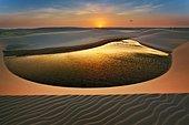 Smile, Lagoon and dunes at dusk, Lençois Maranhenses, Brazil