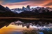 Reflex of Fitz Roy mount at dusk, Los Glaciares National park Patagonia, Argentina