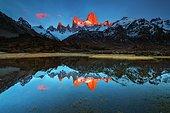 Reflex of Fitz Roy mount at sunrise, Los Glaciares National park Patagonia, Argentina