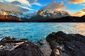 Lake and Cuernos mountains at dusk, Torres del Paine, Patagonia, Chile