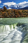 Water fall and Cuernos mountains, Torres del Paine, Patagonia, Chile