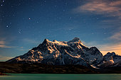 Lake and mountain range at night, Torres del Paine, Patagonia, Chile