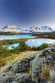 Lakes and Cuernos mountains, Torres del Paine, Patagonia, Chile
