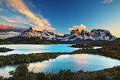 Lakes and Cuernos mountains at dusk, Torres del Paine, Patagonia, Chile