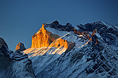 Snowy summit at dusk, Torres del Paine, Patagonia, Chile