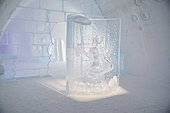 Ice sculpture in gallery, Ice Hotel, Quebec, Canada