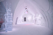 Chandelier and sculpture in gallery, Ice Hotel, Quebec, Canada