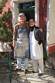 Martine Gilles and Jaap Wieman in front of their pottery factory, village of Brantes, Provence, France