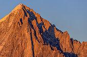 Aiguille Verte (4122 m) ans the Drus, Mont Blanc massif seen from Aiguilles Rouges, Alps, Haute Savoie, France
