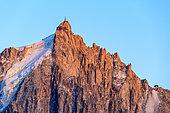 Aiguille du Midi (3842 m) and the Cosmic refuge, Mont Blanc massif seen from Aiguilles Rouges, Alps, Haute Savoie, France