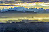 Chain of the Alps seen from the Jura, Mont Blanc is the highest peak, seen from the Col de Richemont, Ain, France