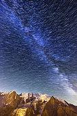Star trail for about 1 hour - Seen from Brévent, Massif des Aiguilles Rouges, Haute Savoie, Alps, France