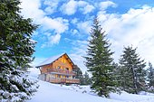 Traditional chalet, Real estate in ski and winter sports resorts in mountain areas, La Pierre Saint Martin ski resort, Arette commune (64), Pyrenees, France