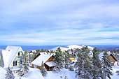 Traditional chalets, Real estate in ski and winter sports resorts in mountain areas, La Pierre Saint Martin ski resort, Arette commune (64), Pyrenees, France