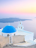 Chapel of Agiou Stylianou, Agiou Mina and sunset light, Fira, Thira, Santorini island, Cyclades archipelago, Greece