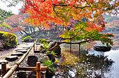 Koishikawa japanese garden in autumn in Tokyo, Japan