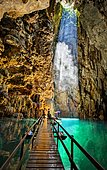 Anhumas abyss bonito brazil. Sunbeam in entrance of the cave