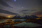 Lake and Cuernos mountains at night, Torres del Paine, Patagonia, Chile