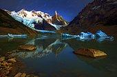 Cerro Torre Massif and Glacial Lake, Patagonian Cordillera, El Chalten, Santa Cruz, Argentina