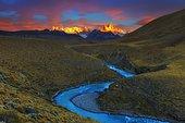 Fitz Roy Massif and Rio de las vueltas, Patagonian Cordillera, El Chalten, Santa Cruz, Argentina