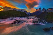 River and Cuernos mountains at dusk, Torres del Paine, Patagonia, Chile