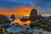 Ursa Beach at sunset, Cabo da Roca, Portugal