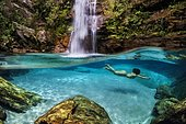 Diving in a blue Dream Santa Barbara Waterfalls Cabvalcante GO b. This is one of the most beautiful waterfalls in Brazil, located in the Chapada dos Veadeiros