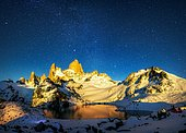 Fitz Roy Massif and Glacial Lake, Patagonian Cordillera, El Chalten, Santa Cruz, Argentina