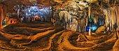 Sao Bernaro cave Cerrado Biome brazil. panoramic of travertines formations, light paint