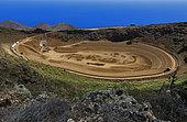 Construction of the upper water tank (year 2010), Central hydroelectric reservoir of Gorona del Viento El Hierro, Island of El Hierro, Canary Islands.