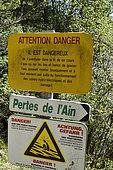 path panels, gorges of Pertes de l Ain, Bourg de Sirod, Jura, France