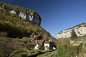 Village and the Seille river, Baume les Messieurs, labelled Les Plus Beaux Villages de France (The Most Beautiful Villages of France), Reculee de Baume, JuraFrance,