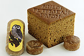 Specialties of the city : Mulot and Petitjean spice breads, with the cut, Nonnette de Dijon, Owl figurine, gingerbread, Dijon blackcurrant, Dijon, Cote d Or, France