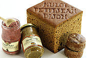 Specialties of the city : Mulot and Petitjean spice breads, with the cut, Nonnette de Dijon, Edmond Fallot mustard, IGP Mustard of Burgundy, jars, gingerbread, Dijon blackcurrant, Dijon, Cote d Or, France