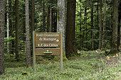Panneau ONF en forêt, Forêt Domaniale de Mortagne, col du Haut-Jacques, entre Saint-Dié et Brouvelieures, Vosges (88), France