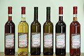 Bottles of berry wine, Petits Crus de Fruits Vosgiens, Coinches, Vosges, France
