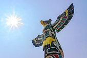 Totem Pole (Fishing Eagle). Duncan, Vancouver Island, British Columbia, Canada