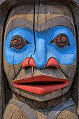 Anthropomorphic Totem Pole. Duncan, Vancouver Island, British Columbia, Canada