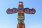 Totem Pole (Eagle and Bear). Powell River, Vancouver Island, British Columbia, Canada