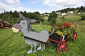 Decoration, flower cart pulled by a donkey, Belfahy, Haute Saone, France,