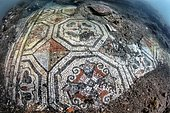 Underwater ancient mosaics. Campi Flegrei, west of the Gulf of Naples. Italy. Monuments of the Greek-Roman age (buildings that belonged to the Roman aristocracy. They now constitute the Underwater Park of Bahia.