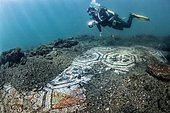Underwater ancient mosaics. Campi Flegrei, west of the Gulf of Naples. Italy. Monuments of the Greek-Roman age (buildings that belonged to the Roman aristocracy. They now constitute the Underwater Park of Baia.