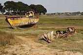 Cimetière à bateaux de Beg Ar Vilin à Plougrescant, Bretagne, France