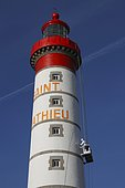 Painting work on the Saint-Mathieu lighthouse in Plougonvelin, Brittany, France